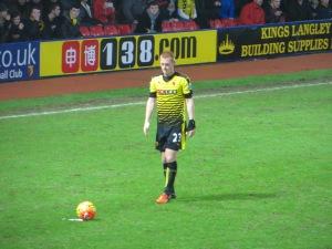Man of the Match Watson lines up a free kick
