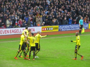 Jurado congratulates Deeney on his goal