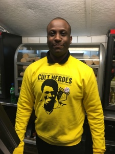 One of the lovely catering staff in his Luther t-shirt (picture courtesy of Karoline Hasley)