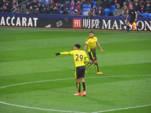 Capoue giving instructions while Deeney looks on