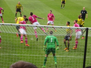 Cathcart and Cook challenge for a header