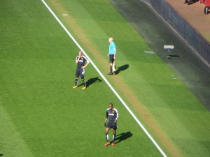 Guedioura and Nyom appearing pensive