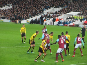Challenging in the West Ham box