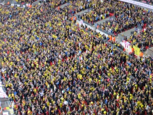 The Watford singing section at Wembley