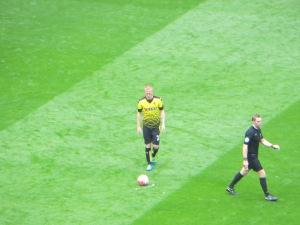Watson lines up a free kick