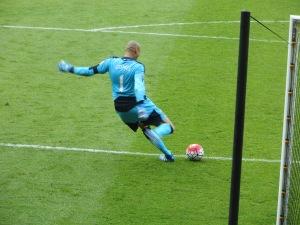 Gomes takes a goal kick