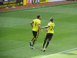 Ighalo congratulates Deeney after the penalty