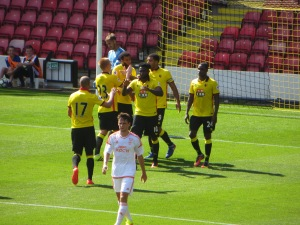 Celebration after Deeney's penalty