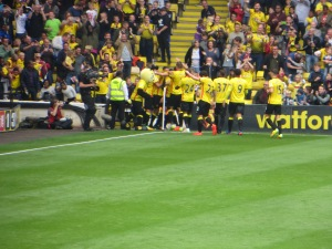A bundled celebration for Capoue's goal.