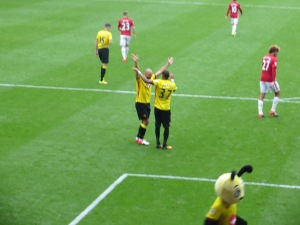 Amrabat and Pereyra celebrate setting up Zuniga's goal
