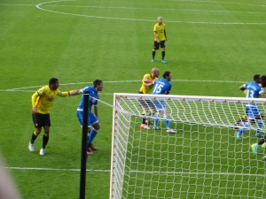 Deeney and Amrabat challenging in the box