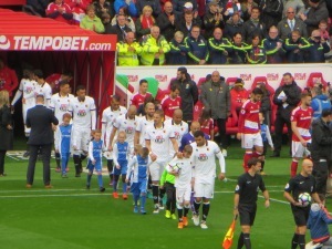 Troy leads the team out at the Riverside