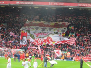 Th pre-match display in the Kop is as impressive as ever