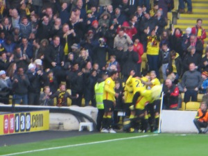 Celebrating Pereyra's fantastic goal