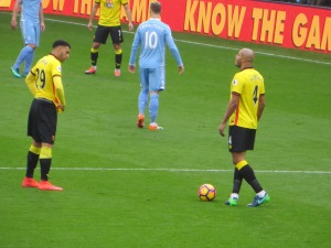 Kaboul and Capoue line up a free kick