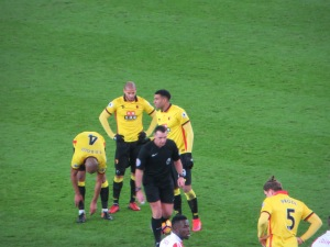 Capoue and Guedioura line up a free kick