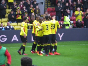 Celebrating Kabasele's goal (and Mason's assist)