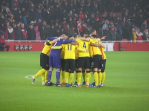 Pre-match huddle at the Emirates