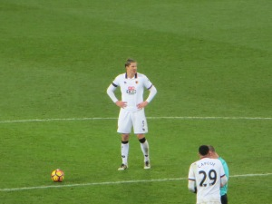 Prodl lines up a free kick